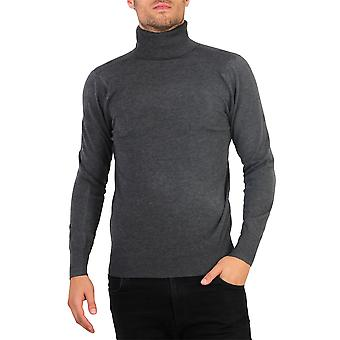 KRISP Herren Polo Turtle Roll Neck Jumper Baumwolle Strickpullover Winter Pullover Top