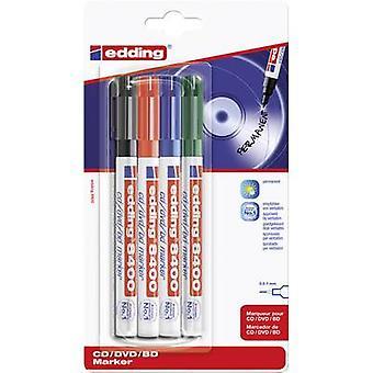 Edding 4-8400-4-1999 4-8400-4-1999 marcador de CD/DVD Negro, Rojo, Verde, Azul 0,5 mm, 1 mm 4 piezas/paquete