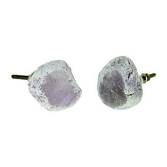 Ametist kvarts naturliga Crystal Cabinet knopp eller låda Pull uppsättning av 2