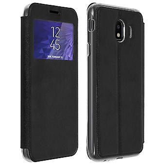 Vindu vende tilfelle, flip lommebok tilfelle med stativ for Samsung Galaxy J4 - svart