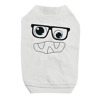 نظارات الوحش مع قميص أبيض الحيوانات الأليفة للكلاب الصغيرة