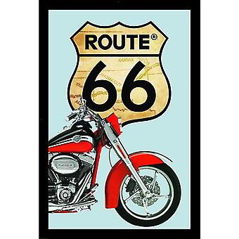 Route 66 mirror Red bike wall mirror with black plastic framing wood.