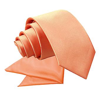 Coral Plain Satin Tie & Pocket Square Set for Boys