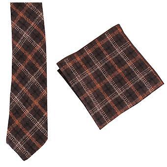 Knightsbridge Krawatten überprüfen, Krawatte und Einstecktuch Satz - Braun/Orange/Schwarz