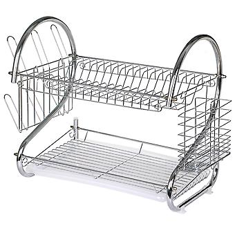 TRIXES Chrome Plated 2 Tier Kitchen Drying Rack for Plates Bowls Mugs & Cutlery
