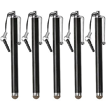 TRIXES svart Microfiber Stylus penn 5 Pack til smarttelefon & Tablet kapasitiv Touch-skjermer