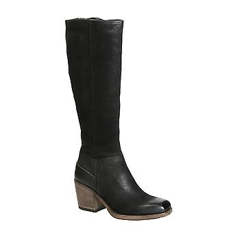 Handmade knee high western boots in black leather for women