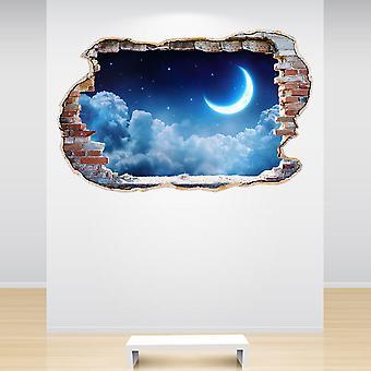 Full farge Moon skyer og stjerner knust veggen 3D effekt Wall klistremerke