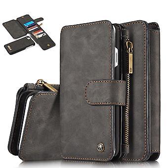 CASEME iPhone 8/7/SE Retro Leder Brieftasche Fall - schwarz
