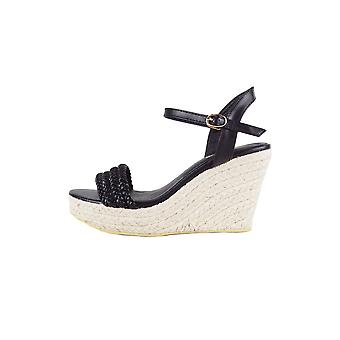 LMS Black Wedge Plaited Sandal With Rope Sole