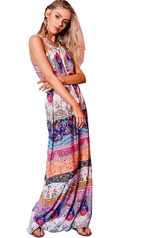 Parisian Printed Maxi Dress With Leaf Tie Detail