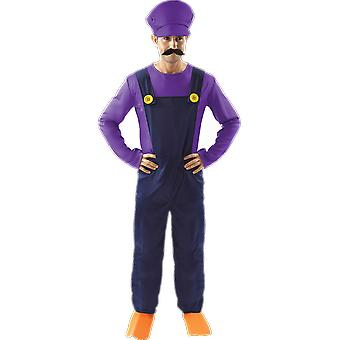 Orion kostuums mens Waluigi Super Mario Purple Retro 80s video game fancy dress