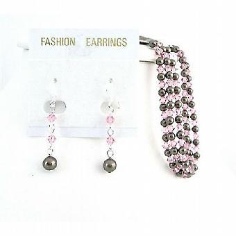 Marrone cioccolato Bracciale perle cristallo Rose corrispondenza Orecchini Sposa
