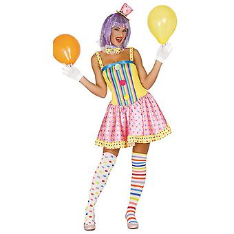 Womens Spots & strepen Clown Fancy Dress kostuum