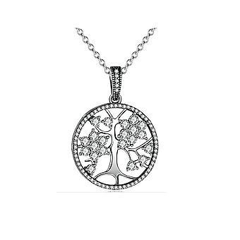 Pendentif Arbre de Vie orné de Cristal de Swarovski Blanc et Argent 925 8127