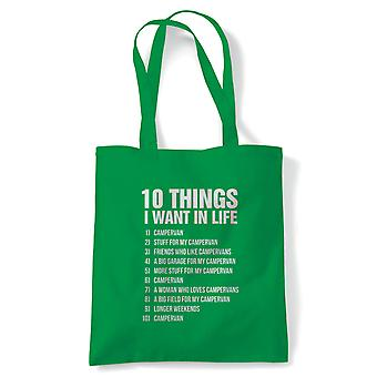 10 Things I Want In Life Camper, Funny Tote - Gift Reusable Shopping Bag
