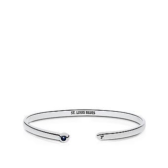 St. Louis Blues Engraved Sterling Silver Dark Sapphire Cuff Bracelet