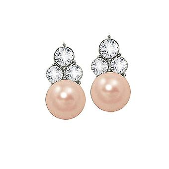 Eternal Collection Signature Pink Glass Pearl And Crystal Silver Tone Stud Pierced Earrings