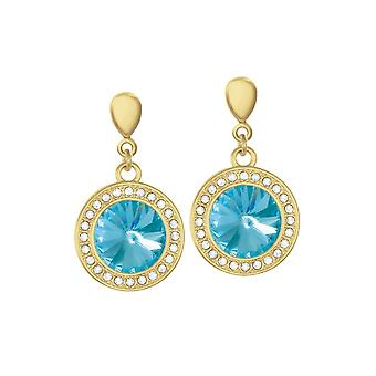 Eternal Collection Viva Turquoise Austrian Crystal Gold Tone Drop Pierced Earrings