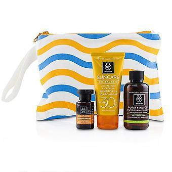 Apivita Suncare Set: Oil Balance Face Cream SPF30 50ml + Purifying Gel 75ml + Protective Hair Oil 20ml 3pcs+1bag