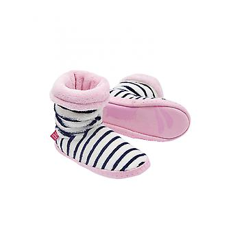 Joules Junior Padabout Girls Slipper Socks - French Navy Stripe