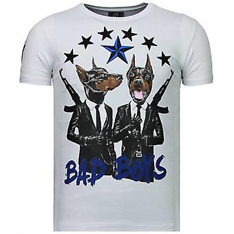Bad Boys Pinscher-tekojalokivi T-paita-valkoinen