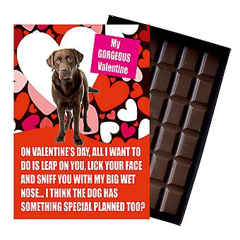 Novelty Chocolate Dog Lover Valentines Day Gift Brown Retriever Greeting Card