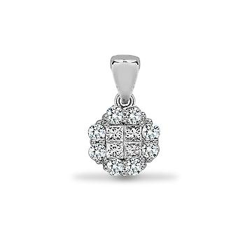 Jewelco London Solid 18ct White Gold Pave Set Princess G SI1 0.3ct Diamond Clover Window Cluster Pendant
