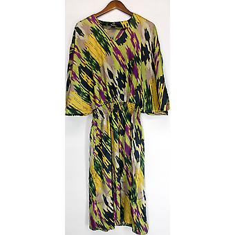 Dennis Basso maleriske ut Batwing ermet kjole multi-Color A223469