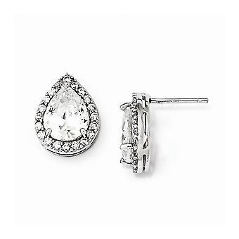 925 Sterling Sølv Rhodium belagt CZ Cubic Zirconia simuleret Diamond Teardrop Post Øreringe smykker gaver til kvinder