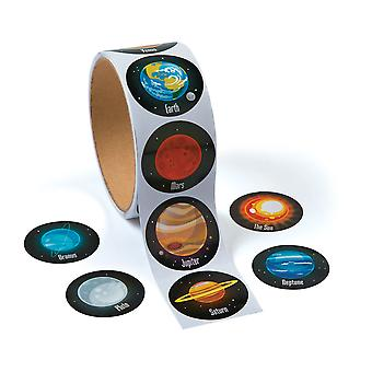 Roll of 100 Solar System Planets Stickers for Kids Crafts