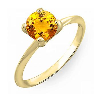 Dazzlingrock Collection 10K 6mm Round Cut Citrine Solitaire Bridal Engagement Ring, Oro Amarillo