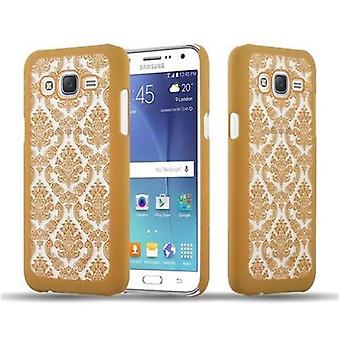 Samsung Galaxy J5 2015 Custodia rigida in GOLD di Cadorabo - Flowers Paisley Henna Design Protective Case – Phone Case Bumper Back Case Cover