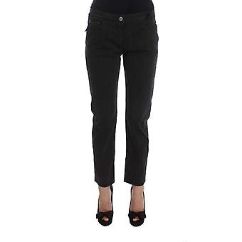 Black Cotton Capri Cropped Denim Jeans -- SIG3555269