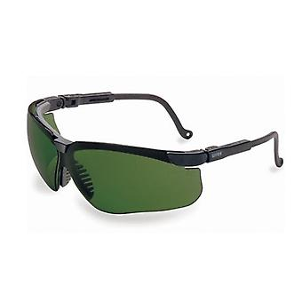 Uvex Genesis Safety Glasses, Black, Green Shade 3.0 Lens, Infra-Dura #S3207