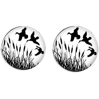 Bassin and Brown Flying Ducks Cufflinks - White/Black