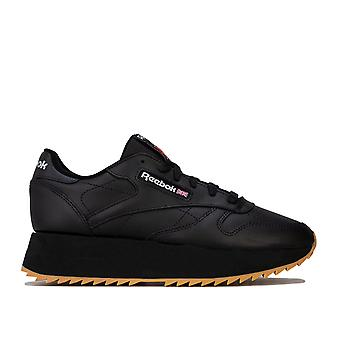 Womens Reebok Classics Leather Double Trainers In Black / Silver Metallic / Gum