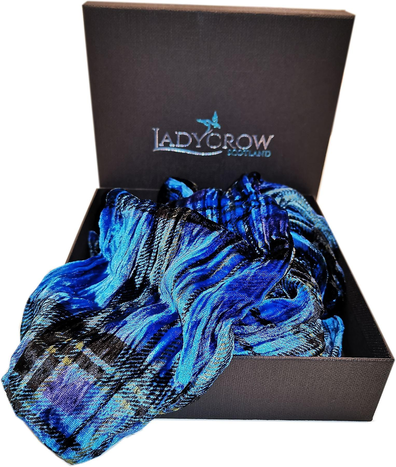 Tartan Silk Velvet Collection Scarf by Ladycrow Scotland -  Blue
