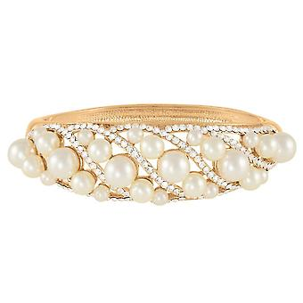 Eternal Collection Aphrodite Clear Crystal And Pearl Gold Bangle