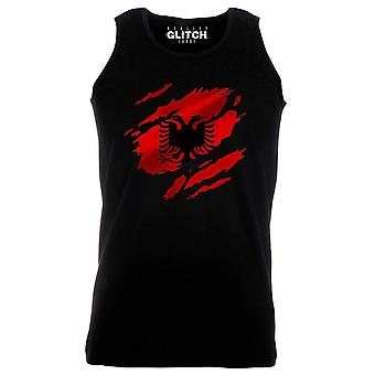 Reality glitch torn albania flag mens vest