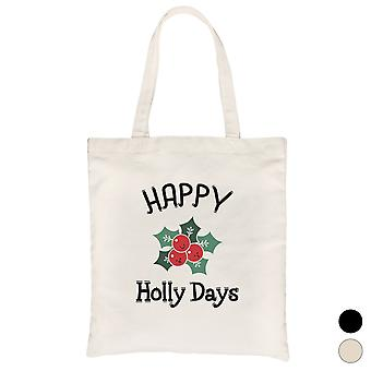 Happy Holly Days Canvas Bag Funny Christmas Gift for Holiday