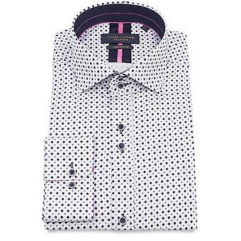 Guide London Cotton Sateen Geometric Print Mens Shirt