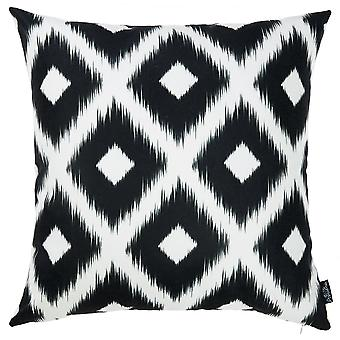 Black and White Ikat Decorative Throw Pillow Cover