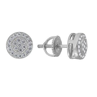 925 Sterling Silver Womens Mens Unisex Round CZ Stud Flower Cluster Fashion Earrings Measures 7.4x Jewelry Gifts for Men