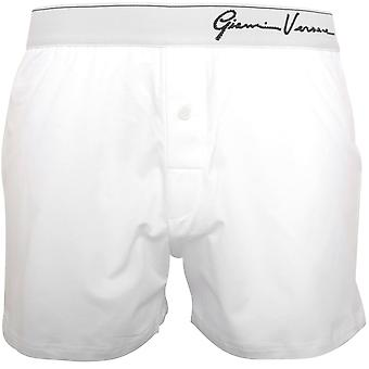 Versace Gianni Crystals Logo Stretch Cotton Boxer Short, White