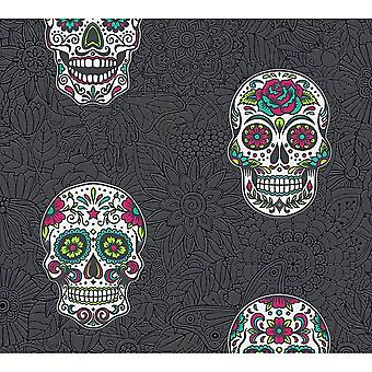 A.S. Creație AS Creație Gothic Skull Wallpaper floral relief negru multi-colorate 35817-3