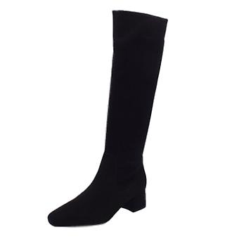 Peter Kaiser Tomke Pull On Stretch Knee High Boots In Black Suede