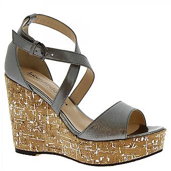 Leonardo Shoes Women's handmade wedges sandals gray calf leather with buckle