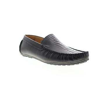 Zanzara Rembrandt  Mens Black Leather Slip On Casual Loafers Shoes