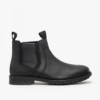 Roamers Richie Mens Leather Chelsea Boots Black